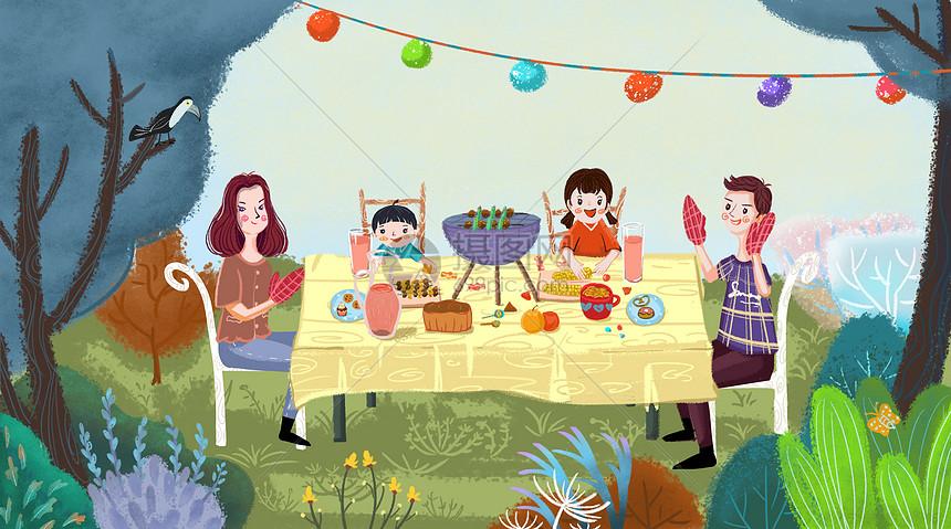儿童节家庭户外聚餐图片