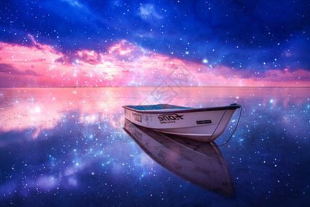 星空下的小船图片