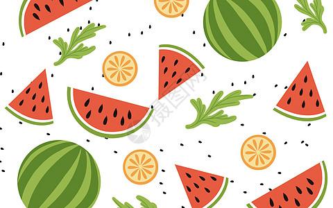 清新水果西瓜背景图片