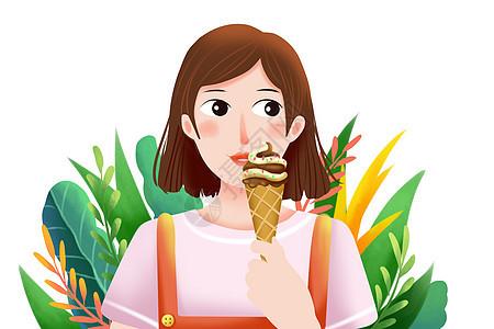 吃冰淇淋的女孩图片