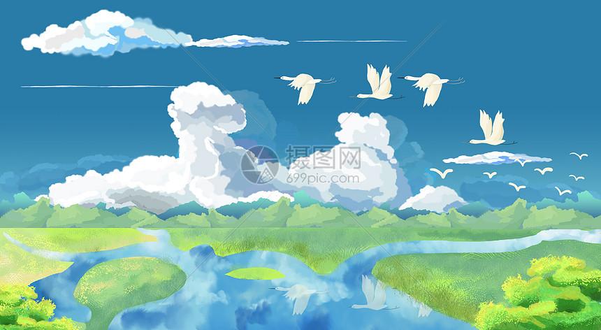 大自然湿地草原上的大雁背景图片