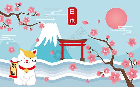 日本旅游剪纸风图片