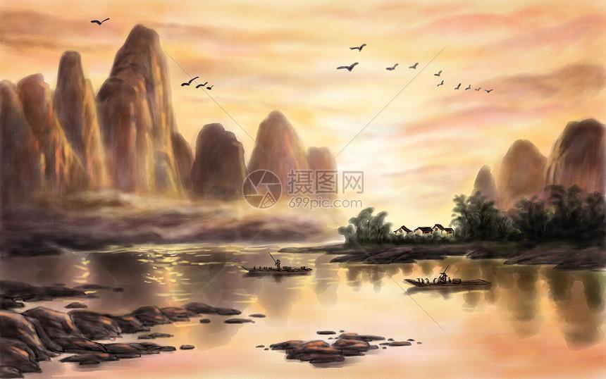 水墨山水画背景图片