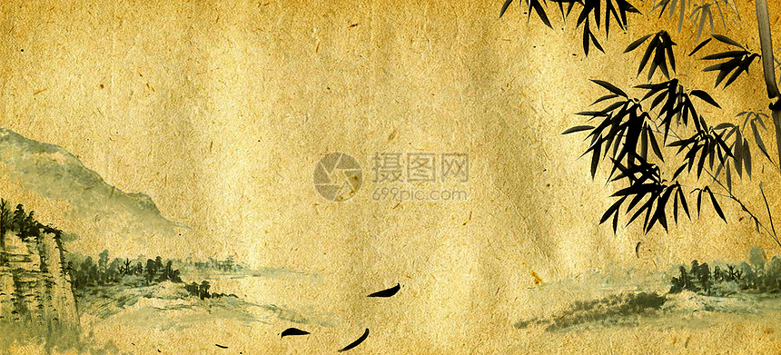 中国国画旧纸背景 竹子远山图片