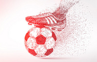 创意世界杯足球剪影粒子图片