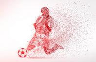 创意足球剪影运动员粒子图片