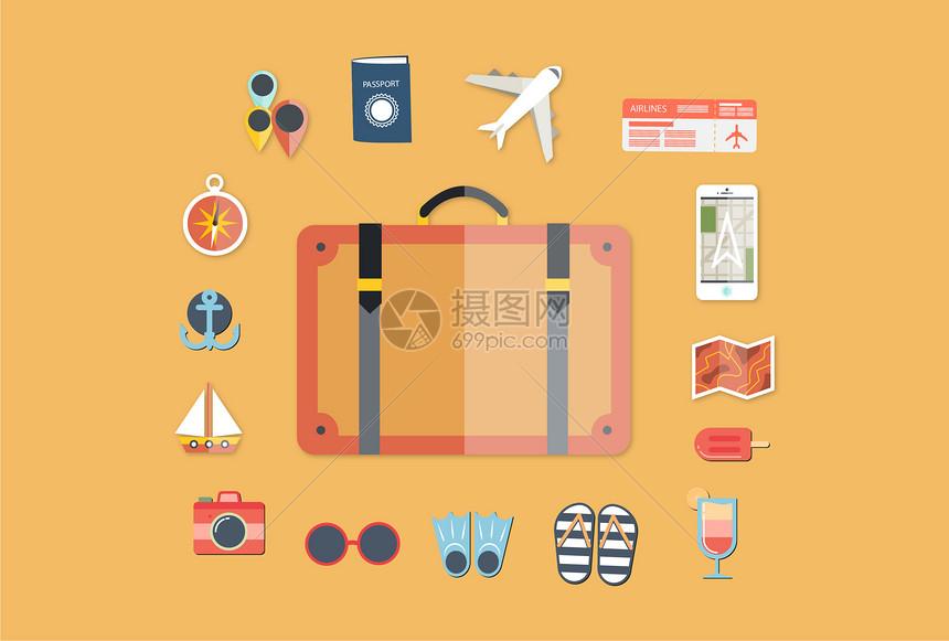 旅游度插画图片