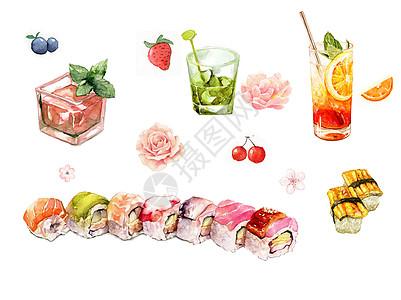 水彩手绘日料饮品图片