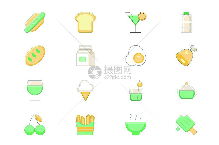 绿色小清新食物图标图片