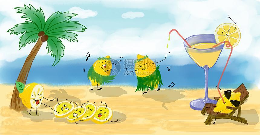 创意夏季柠檬插画图片