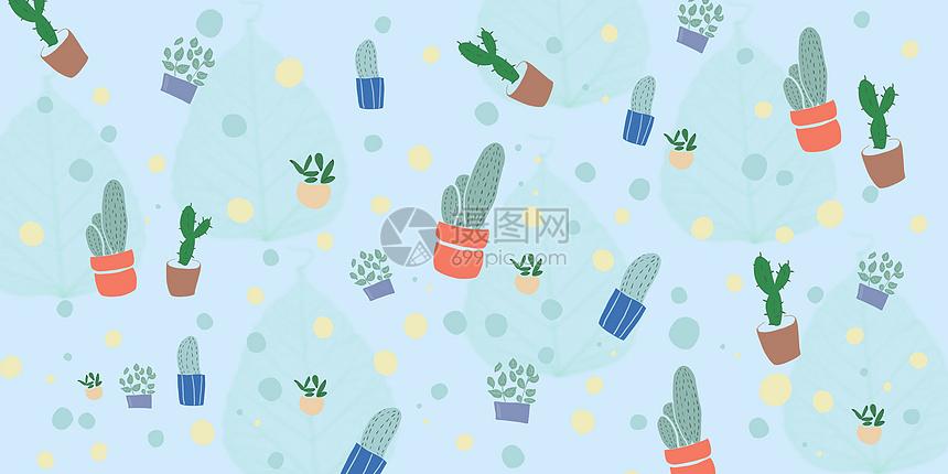 清新仙人掌花盆插画图片