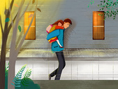 爸爸背着熟睡的女儿回家图片