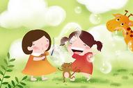 吹泡泡的小女孩图片