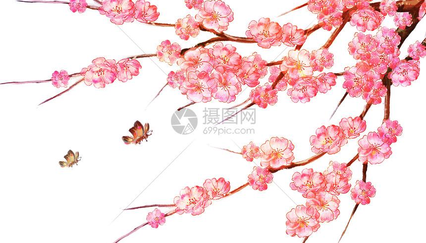 桃花背景中国风图片