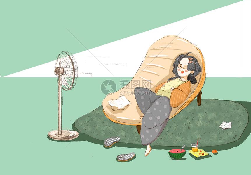 吹风扇的女孩图片