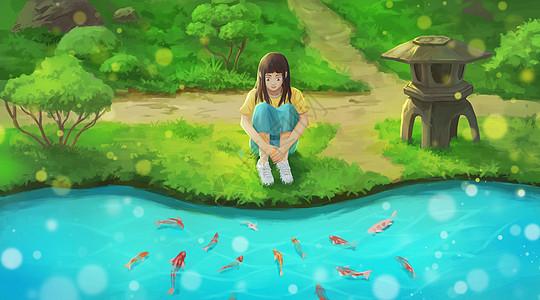 夏日水边赏鱼的女孩图片