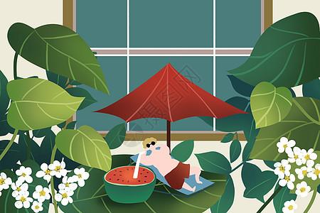 夏天吃西瓜图片