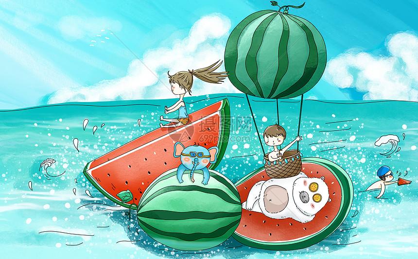 西瓜泳池图片