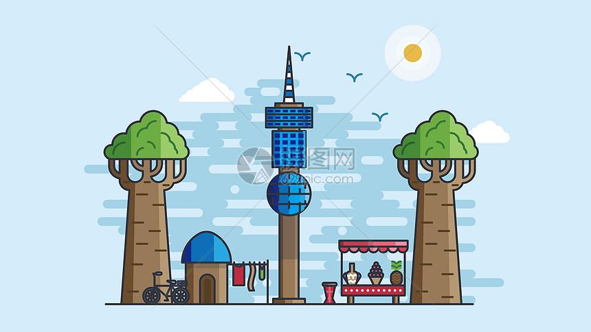 欧式城市风光建筑图片