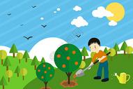 植树造林扁平插画图片