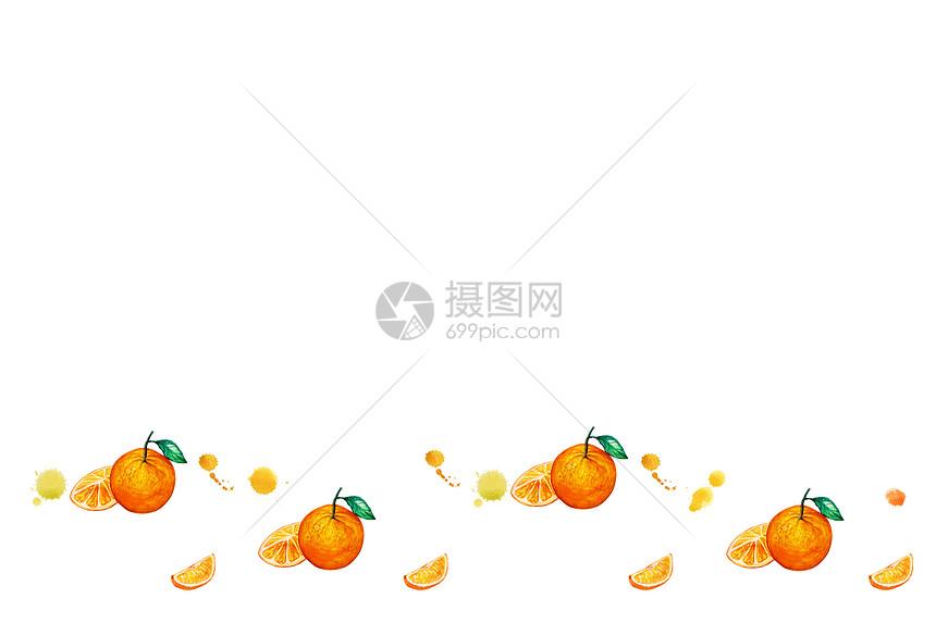 橘子清新留白背景图片