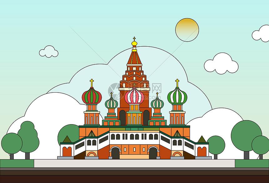 俄罗斯风情建筑矢量插画图片