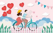 单车情侣剪纸风图片