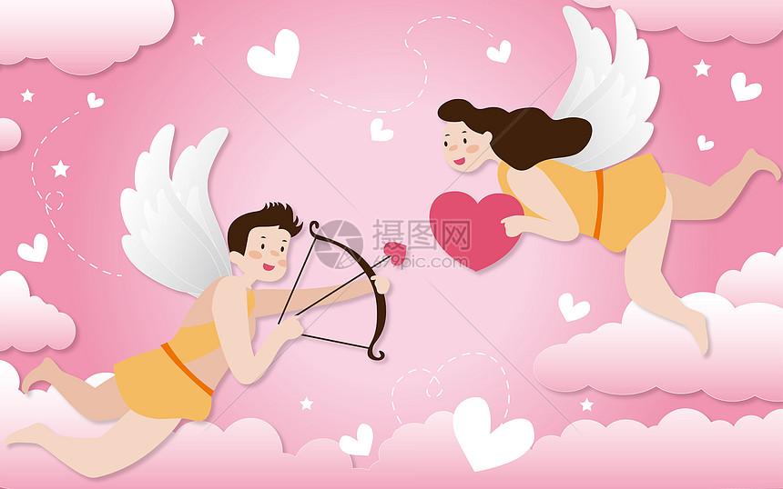 爱情丘比特剪纸风图片