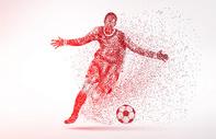 创意足球运动员剪影粒子图片