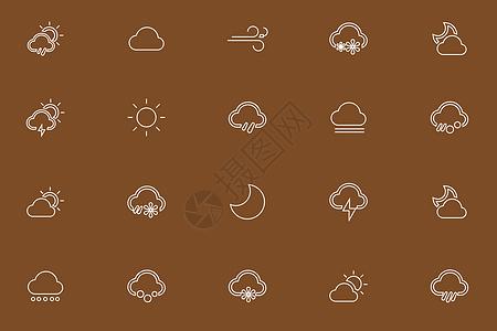 天气线性图标图片