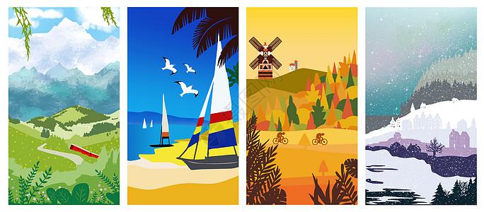 四季风景插画壁纸图片