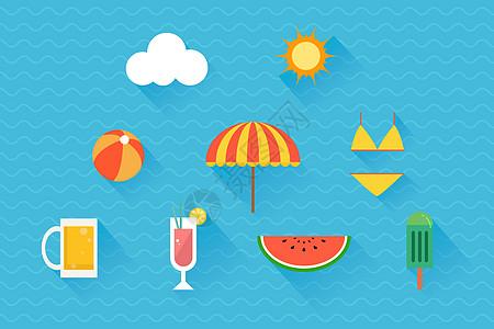 夏季沙滩图标图片