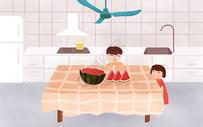 夏至吃西瓜图片
