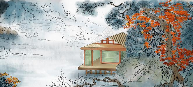 山水村庄水墨画图片