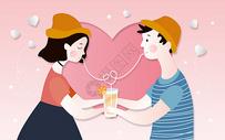 饮料情侣剪纸风图片