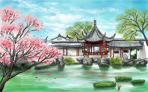 水墨画风景画背景 苏州园林图片