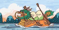 端午节划龙舟插画作品图片