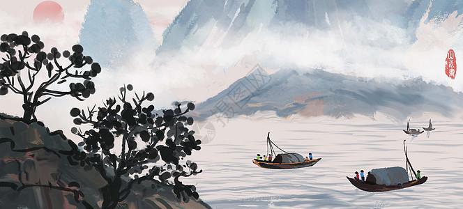 山水插画图片