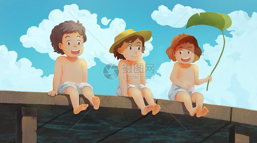 夏天水边嬉戏的儿童图片