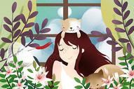 清新夏天猫咪少女插画图片