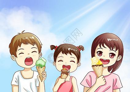夏天吃冰淇淋图片