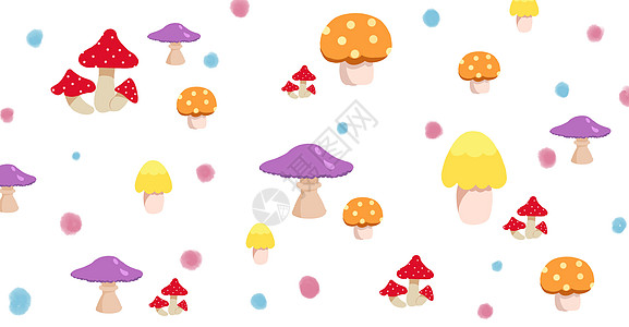 手绘唯美彩色蘑菇插画图片