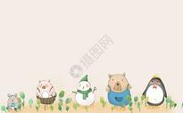 小动物卡通背景图片