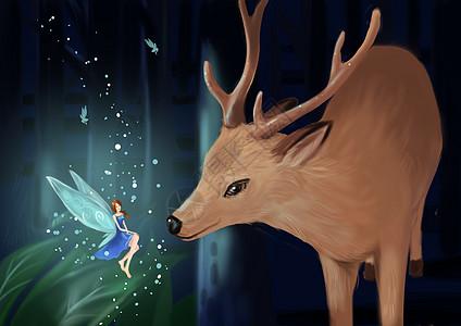 森林中的鹿与精灵高清图片