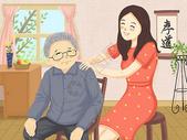 关爱老人给老人按摩图片