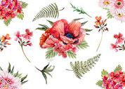 手绘水彩花卉背景图片