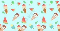 夏季西瓜冰淇淋清新背景图片