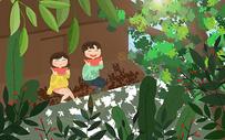夏天乘凉吃西瓜图片