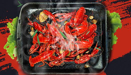 麻辣小龙虾背景图片