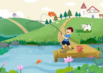立夏 河边钓鱼图片